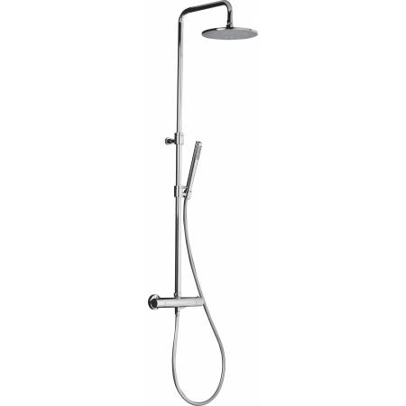 Circular Wall Mounted Thermostatic Valve with Rigid Riser, Fixed Head and Shower Kit