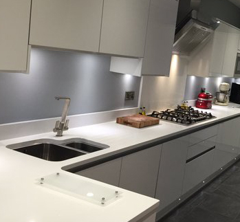 A Recent Stylish And Contemporary Kitchen Installation From Purple Kitchens  In Liverpool. The Tap Shown Is Linear Flair In Brushed Nickel.