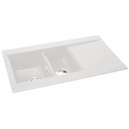 Aspekt 1.5 Bowl & Drainer in White Granite