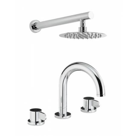 Bliss Thermostatic Deck Mounted 3 Hole Bath Mixer & Wall Mounted Shower in Chrome