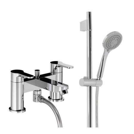 Début Deck Mounted Bath Shower Mixer  - Deluxe (Includes Sliding Rail Shower Kit) in Chrome