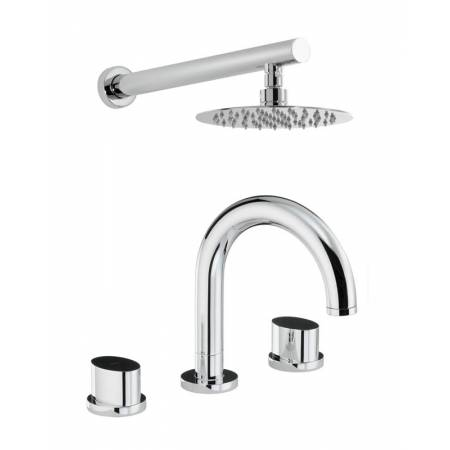 Début Thermostatic Deck Mounted 3 Hole Bath Mixer & Wall Mounted Shower in Chrome