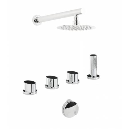 Début Thermostatic Deck Mounted Bath Overflow Filler Kit with Handshower & Wall Mounted Shower in Chrome