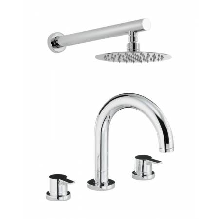 Desire Thermostatic Deck Mounted 3 Hole Bath Mixer & Wall Mounted Shower in Chrome