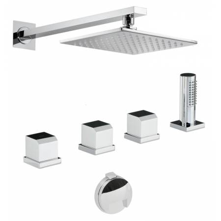 Extase Thermostatic Deck Mounted Bath Overflow Filler Kit with Handshower & Wall Mounted Shower in Chrome