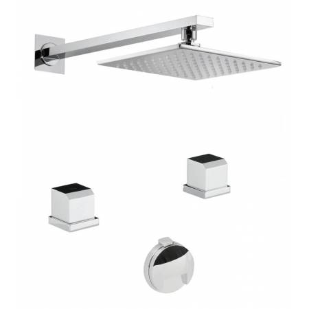 Extase Thermostatic Deck Mounted 2 Hole Bath Overflow Filler Kit & Wall Mounted Shower in Chrome