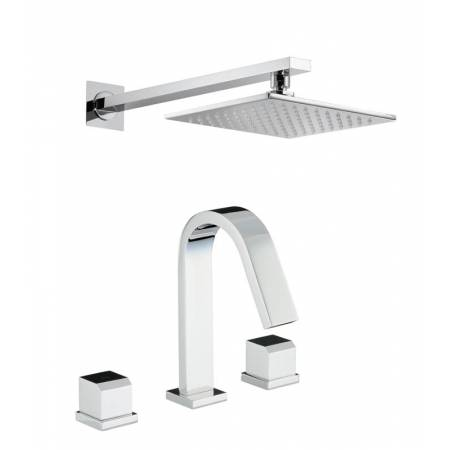 Extase Thermostatic Deck Mounted 3 Hole Bath Mixer & Wall Mounted Shower in Chrome