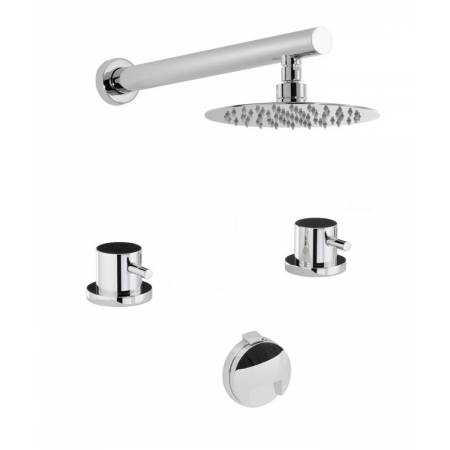 Harmonie Thermostatic Deck Mounted 2 Hole Bath Overflow Filler Kit & Wall Mounted Shower in Chrome