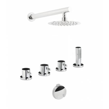 Harmonie Thermostatic Deck Mounted Bath Overflow Filler Kit with Handshower & Wall Mounted Shower in Chrome