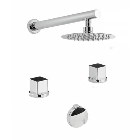 Rapture / Fervour Thermostatic Deck Mounted 2 Hole Bath Overflow Filler Kit & Wall Mounted Shower in Chrome