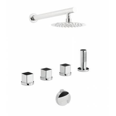 Rapture / Rapport / Fervour Thermostatic Deck Mounted Bath Overflow Filler Kit with Handshower & Wall Mounted Shower in Chrome