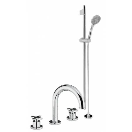 Serenitie Thermostatic Deck Mounted 4 Hole Bath Mixer & Sliding Rail Kit in Chrome