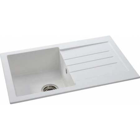 Xcite Single Bowl & Drainer in Frost White Granite