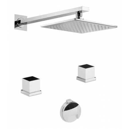 Zeal Thermostatic Deck Mounted 2 Hole Bath Overflow Filler Kit & Wall Mounted Shower in Chrome