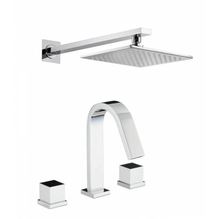 Zeal Thermostatic Deck Mounted 3 Hole Bath Mixer & Wall Mounted Shower in Chrome