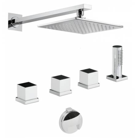 Zeal Thermostatic Deck Mounted Bath Overflow Filler Kit with Handshower & Wall Mounted Shower in Chrome