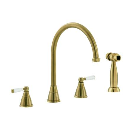 Astbury 3 Part Mixer with Independent Handspray in Forged Brass