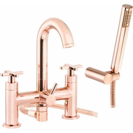 Serenitie Deck Mounted Bath Shower Mixer with Shower Handset in Rose Gold