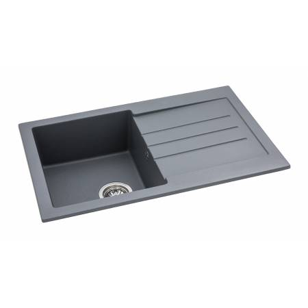 Xcite Single Bowl & Drainer in Grey Metallic Granite
