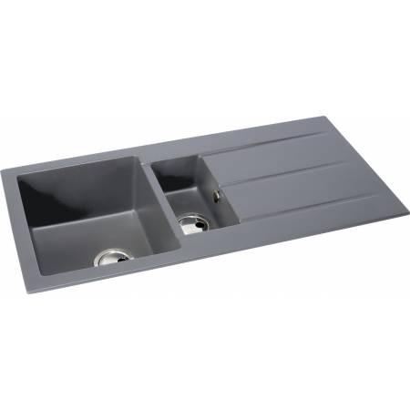 Zero 1.5 Bowl & Drainer in Grey Metallic Granite