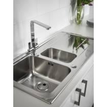 Ixis Single Bowl & Drainer Compact Sink in Stainless Steel