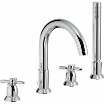 Opulence 4 Hole Deck Mounted Bath Shower Mixer with Shower Handset in Chrome